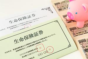 豚の貯金箱と生命保険書